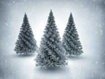 Kerstbomen en sneeuw Royalty-vrije Stock Afbeeldingen