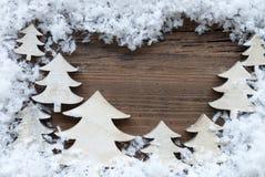 Kerstbomen en Sneeuw met Exemplaarruimte Royalty-vrije Stock Foto's