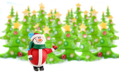 Kerstbomen en sneeuwman stock foto