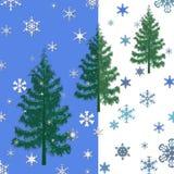 Kerstbomen en sneeuwvlokken Royalty-vrije Stock Afbeeldingen