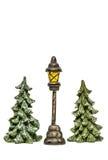 Kerstbomen met geïsoleerde lantaarn Royalty-vrije Stock Afbeelding