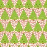 Kerstbomen met gezicht Kerstmispatroon van de jonge geitjespret Roze achtergrond Grappig naadloos Kerstmis vectorpatroon Pretkers vector illustratie