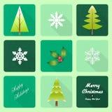 Kerstbomen met lang schaduweffect Stock Fotografie