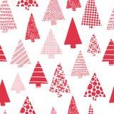 Kerstbomen modern vector naadloos patroon Rode Kerstboomsilhouetten op een witte achtergrond Modern Kerstmisontwerp stock illustratie
