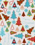 Kerstbomen - naadloos vectorpatroon Stock Foto's