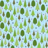 Kerstbomen op Blauwe Achtergrond Stock Illustratie