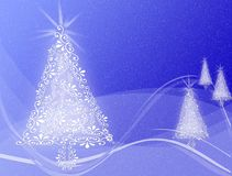 Kerstbomen op Blauwe wervelings golvende achtergrond Stock Foto