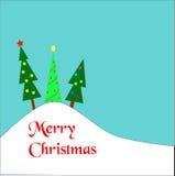 Kerstbomen op een heuvel Stock Afbeeldingen