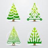 Kerstbomen, reeks gestileerde vectorsymbolen Stock Afbeeldingen