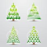 Kerstbomen. Reeks vectortekens (symbolen) Stock Foto