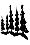 Kerstbomen/Silhouet Stock Afbeelding