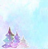Kerstbomen sneeuwachtergrond met ruimte voor tekst Stock Foto's