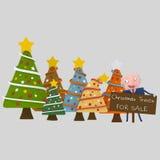 Kerstbomenverkoper 3d vector illustratie
