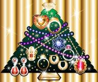 Kerstboom 1 van juwelen vector illustratie