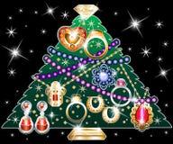 Kerstboom 2 van juwelen stock illustratie
