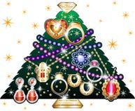 Kerstboom 3 van juwelen stock illustratie