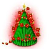 Kerstboom 3D met Bloemen Stock Fotografie