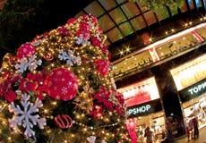 Kerstboom bij boomgaardweg Stock Afbeeldingen