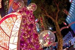 Kerstboom bij boomgaardweg Singapore Stock Foto's