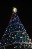 Kerstboom bij nacht Royalty-vrije Stock Foto