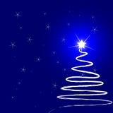 Kerstboom bij nacht royalty-vrije illustratie