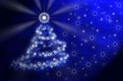 Kerstboom. Blauw magisch licht stock illustratie