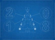 Kerstboom 2018 Blauwdruk vector illustratie