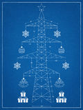 Kerstboom - blauwdruk stock illustratie