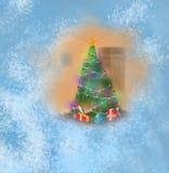 Kerstboom buiten het venster Stock Afbeelding