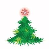 Kerstboom, cannabisblad Royalty-vrije Stock Afbeeldingen
