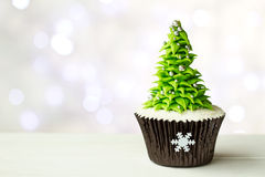Kerstboom cupcake Stock Foto's