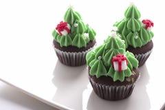 Kerstboom cupcake Royalty-vrije Stock Foto's