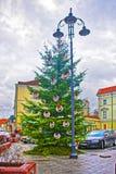 Kerstboom in de Oude Stad van Vilnius in Litouwen Stock Foto