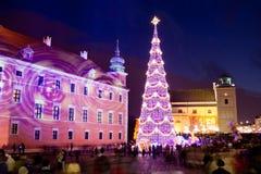 Kerstboom in de Oude Stad van Warshau stock fotografie