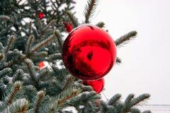 Kerstboom in de straat met rode ballen wordt verfraaid die en giftboxes royalty-vrije stock afbeeldingen