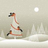 Kerstboom in de winterbos Royalty-vrije Stock Afbeeldingen