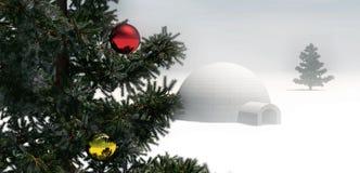 Kerstboom in de winterscène stock foto's