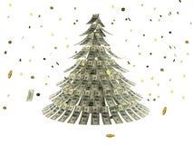 Kerstboom die door dollars met muntstuk als sneeuw wordt gemaakt Stock Afbeeldingen