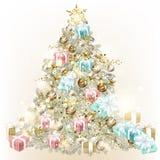 Kerstboom die door snuisterijen wordt verfraaid stock illustratie