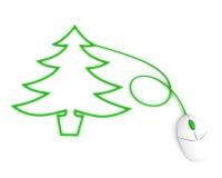 Kerstboom die met de kabel van de computermuis wordt afgeschilderd Royalty-vrije Stock Afbeeldingen