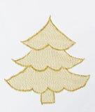 Kerstboom die met Gouden Draad wordt geborduurd Stock Fotografie