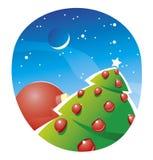 Kerstboom die met rode ballen verfraait   Concept Stock Illustratie