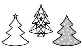 Kerstboom die van document wordt verwijderd Malplaatje voor Kerstkaarten, uitnodigingen voor Kerstmispartij Beeld geschikt voor l stock illustratie