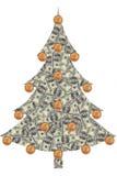 Kerstboom die van dollars wordt gemaakt Royalty-vrije Stock Afbeeldingen