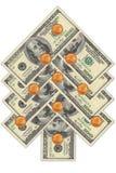 Kerstboom die van dollars wordt gemaakt Royalty-vrije Stock Afbeelding
