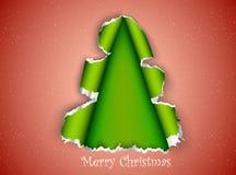 Kerstboom die van gescheurd document wordt gemaakt Royalty-vrije Stock Fotografie