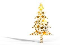 Kerstboom die van gouden sterren wordt gemaakt Stock Fotografie