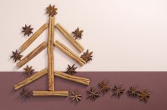 Kerstboom die van kaneel en anijsplant wordt gemaakt stock foto's