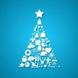 Kerstboom die van pictogrammen wordt gemaakt Stock Foto