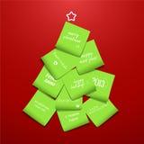Kerstboom die van post-it wordt gemaakt Stock Afbeeldingen